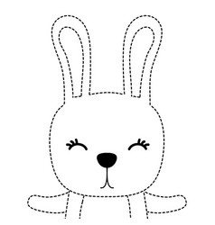 dotted shape adorable rabbit wild animal of the vector image