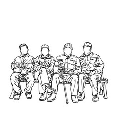 drawing four old men friends sitting on bench vector image