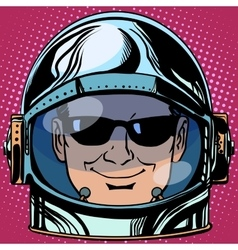 emoticon spy Emoji face man astronaut retro vector image