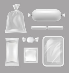 Empty food packages realistic pictures of vector
