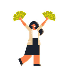 Excited businesswoman holding raised dollar cash vector