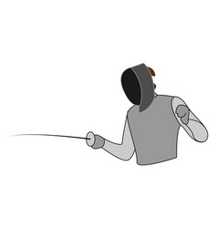 fencing man on white background vector image