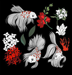 fish and flowers in graphic style isolated vector image