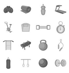 Fitness icons set black monochrome style vector image