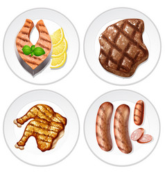 four plates of grilled food with different meats vector image