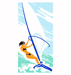 Girl with black hair on a sailing board vector