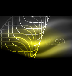 Glowing ellipses dark background waves and swirl vector