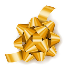gold realistic gift bow with ribbon decoration vector image