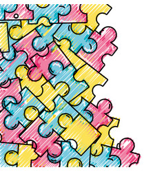 grated puzzle pieces game background design vector image