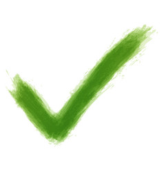 green check mark sign watercolor texture vector image