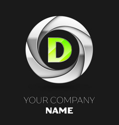 green letter d logo symbol in the silver circle vector image