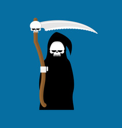 Grim reaper with scythe isolated death in hood on vector
