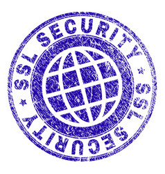 Grunge textured ssl security stamp seal vector