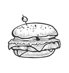 hamburger sandwich sketch engraving vector image