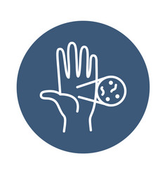 Hand and cell icon block style vector