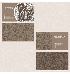 Hand drawn business card template for Pizzeria vector image