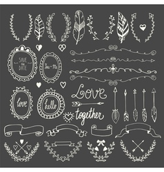 Hand drawn graphic set Wedding set of arrows vector