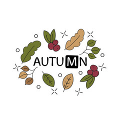 hand lettering text about autumn with vector image