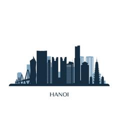 hanoi skyline monochrome silhouette vector image