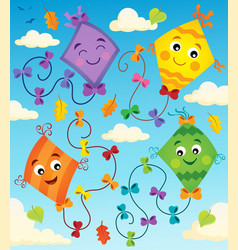 Happy flying kites thematic image 1 vector