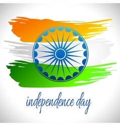 Happy India Independence Day postcard with Ashoka vector image