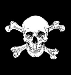 Human skull with crossbones jolly roger vector
