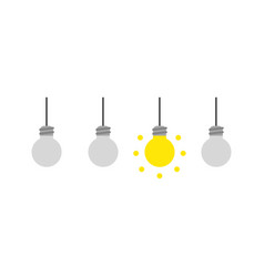 Icon concept of three grey light bulbs and one vector