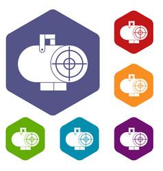 industrial fan heater icons set hexagon vector image