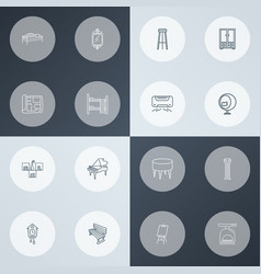 interior icons line style set with house plan air vector image