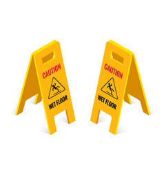 Isometric caution wet floor sign isolated on white vector