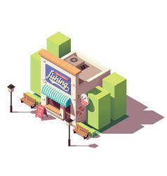 Isometric fishing gear and tackle shop vector