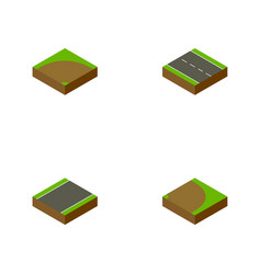 isometric way set of rotation single-lane sand vector image
