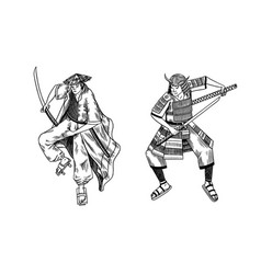 japanese samurai warriors with weapons sketch men vector image