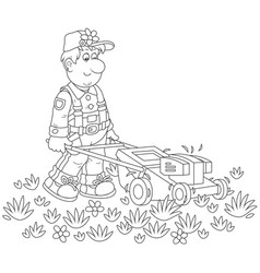 Lawn-mower at work vector