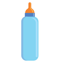 light blue baby milk bottle with orange pacifier vector image