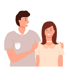 man and woman standing together and hugging vector image