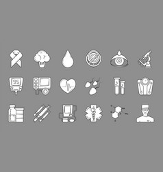 medical black symbols monochrome medical icons vector image