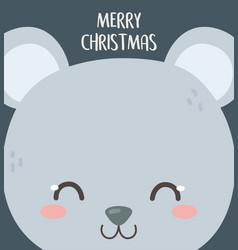 merry christmas celebration cute bear head cartoon vector image