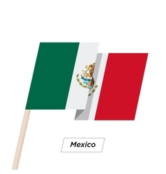 Mexico Ribbon Waving Flag Isolated on White vector