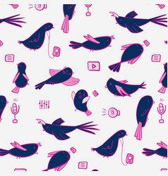 modern technology birds with mp3 microphone vector image