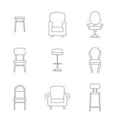 monochrome set with chair icons vector image