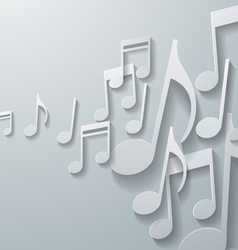 Music notes on white paper background vector