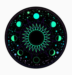 Mystical round neon frame with moon and sun vector