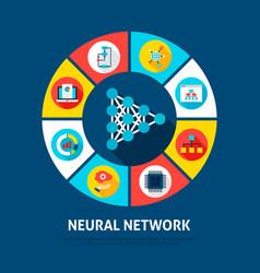 Neural network concept icons vector