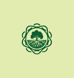 Oak tree logo emblem-01 vector
