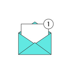 Outline green email notification icon vector