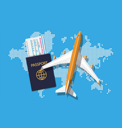 passenger jet boarding pass and passport map vector image