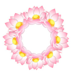 Pink indian lotus wreath vector