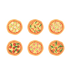 Pizzas with different toppings Cartoon stylized vector image