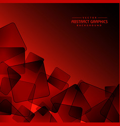 Red background with abstract black square shapes vector